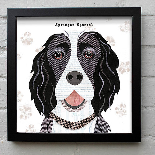 Black & White Springer Spaniel Dog Art Print