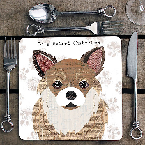 Long haired Chihuahua dog  Placemat/Coaster