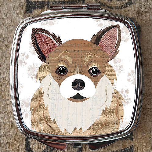 Long Haired Chihuahua Dog Compact Mirror