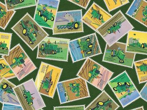 John Deere Vintage Tractor Green Stamp