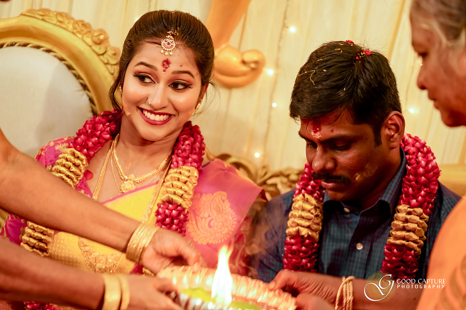 Candid wedding photography in Chennai during an hindu wedding engagement