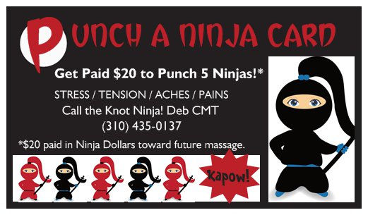 Ninja Massage rewards card