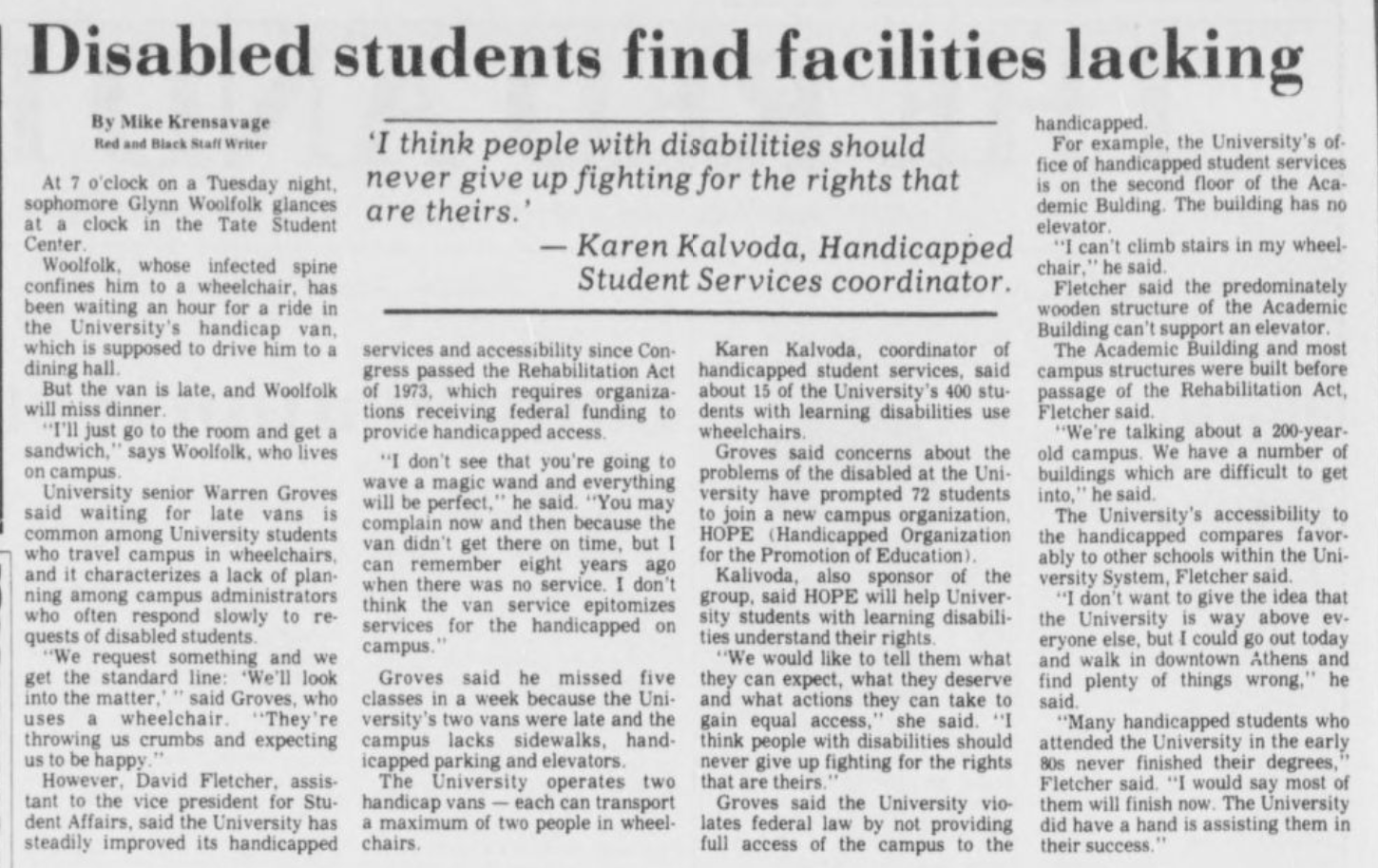 Disabled Students Find Facilities Lacking