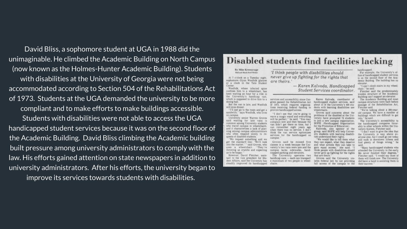 Disability Movement at UGA con't