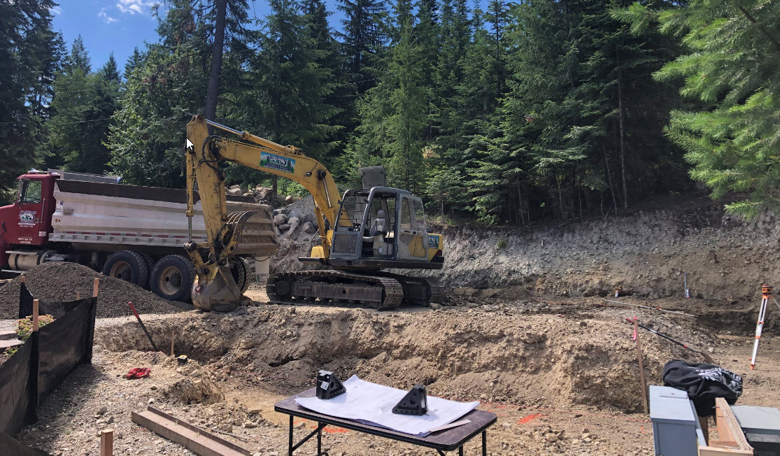 Rough grade excavation for building foun