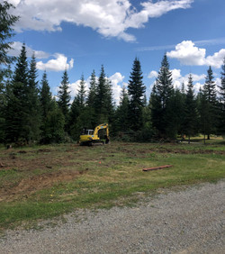 Clearing pad of brush trees and stumps.j