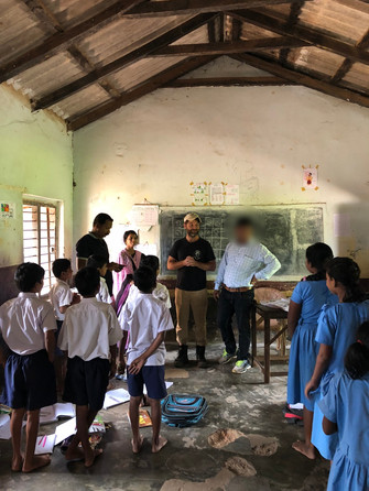 Justin, a July 2018 team member, speaking at the local school.