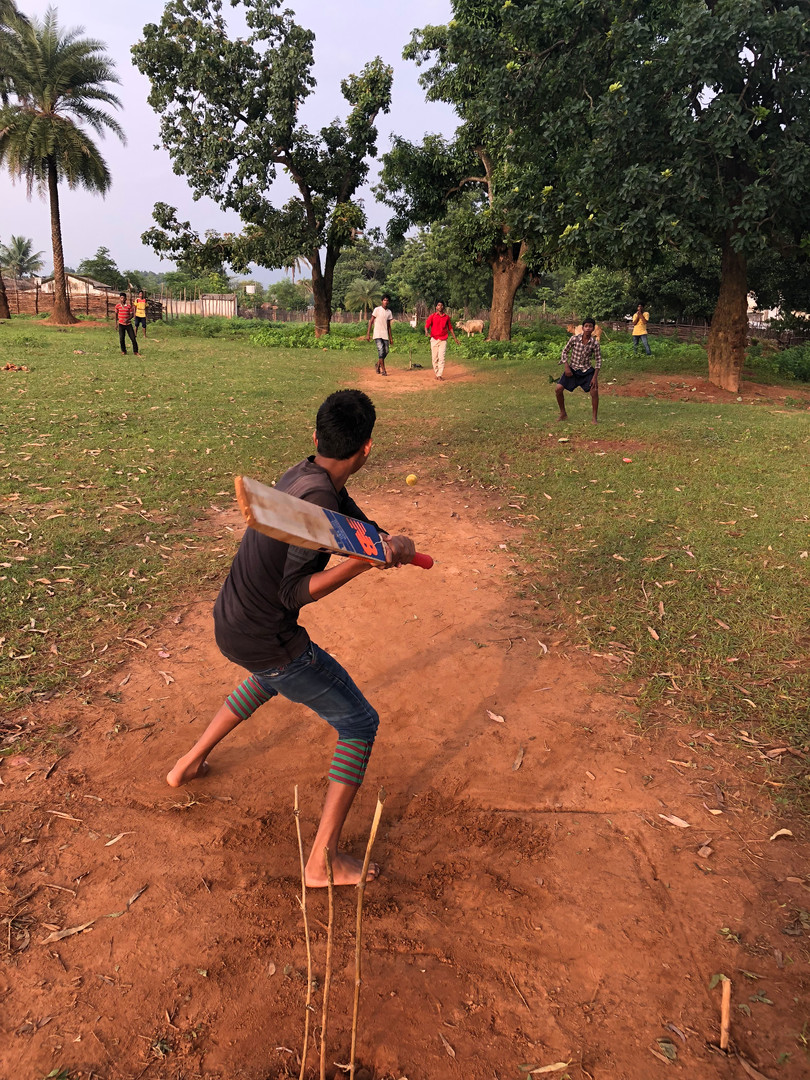 On Sundays, the children play cricket together