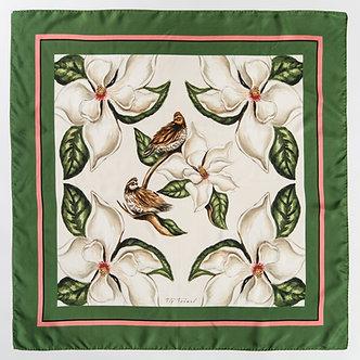 Quail & Magnolia | 45 x 45cm | Silk Scarf