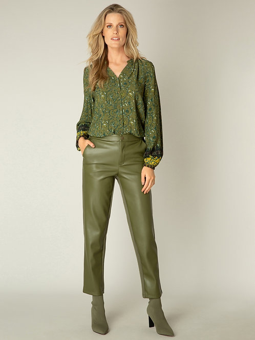 ARMY GREEN PLEATHER PANT