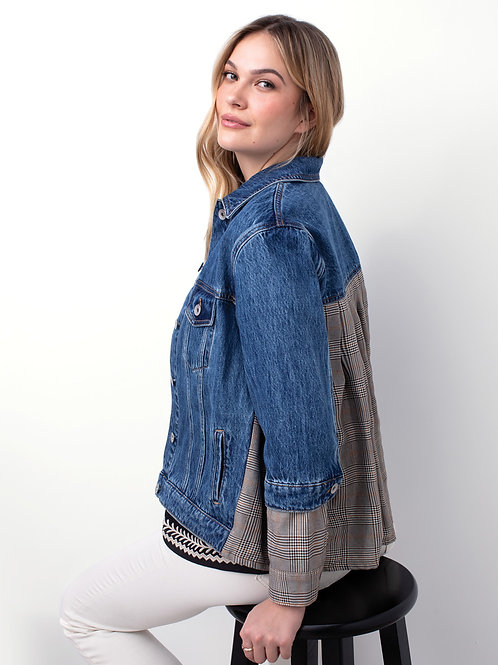 JEAN JACKET WITH PLEATED BACK