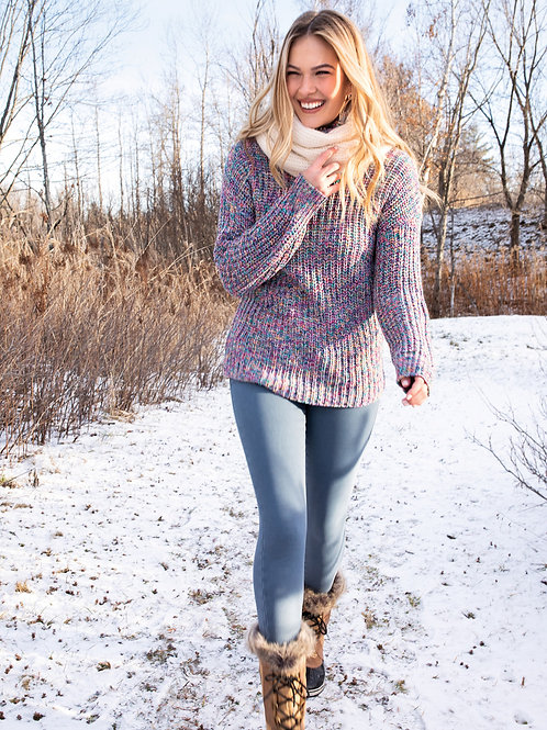 Multicolor Turtleneck Sweater