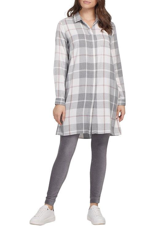 GREY PLAID SHIRT DRESS