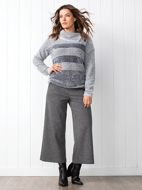 Grey Wide Cropped Pant