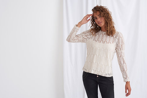 Cream Lace Long Sleeve Top