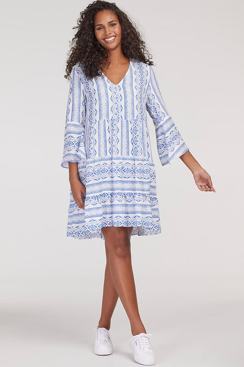 Tribal Bell Sleeved Tiered Dress