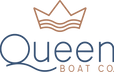 The Queen Boat Co. logo. A crown tops the elegant font of Queen.