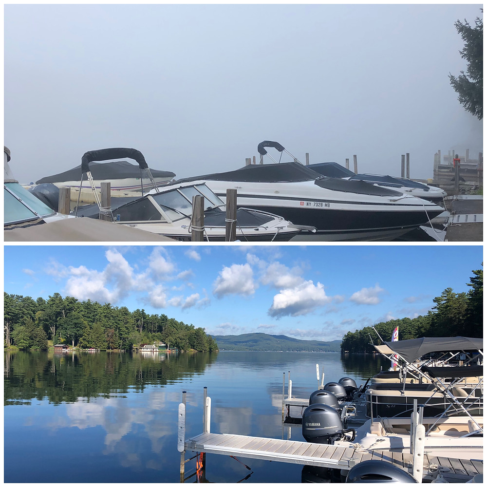 A collage of two pictures taken an hour apart. In the first you can barely see past the dock because of the fog and in the second, the sun is out and skies are clear!