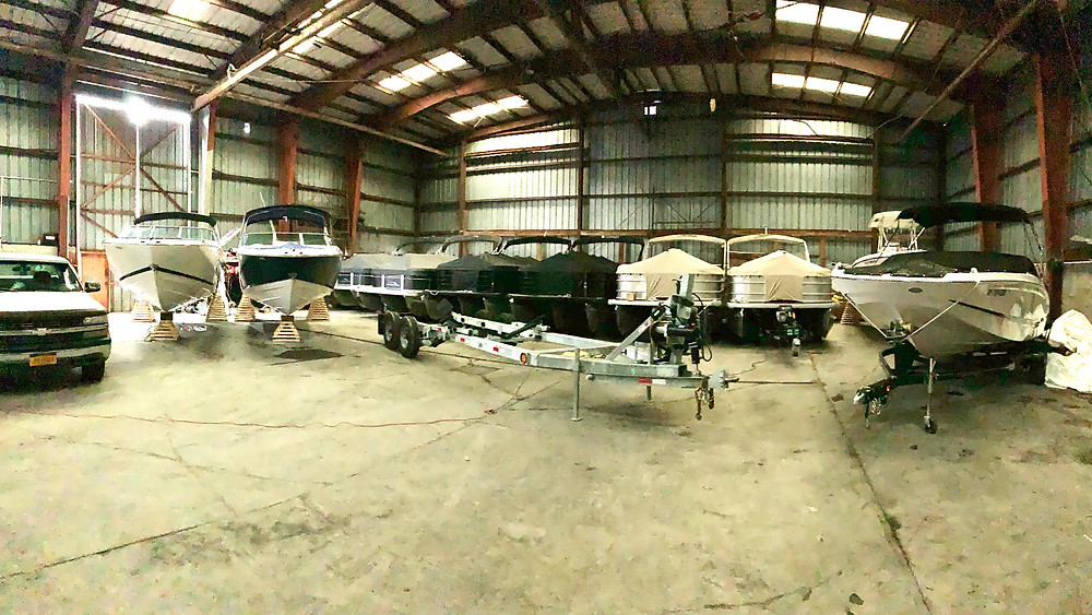 Freedom Boat Club fleet all lined up and winterized for the off season