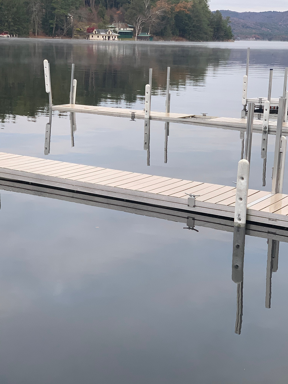 The recent storms cause the water levels to rise so much that our docks were almost submerged