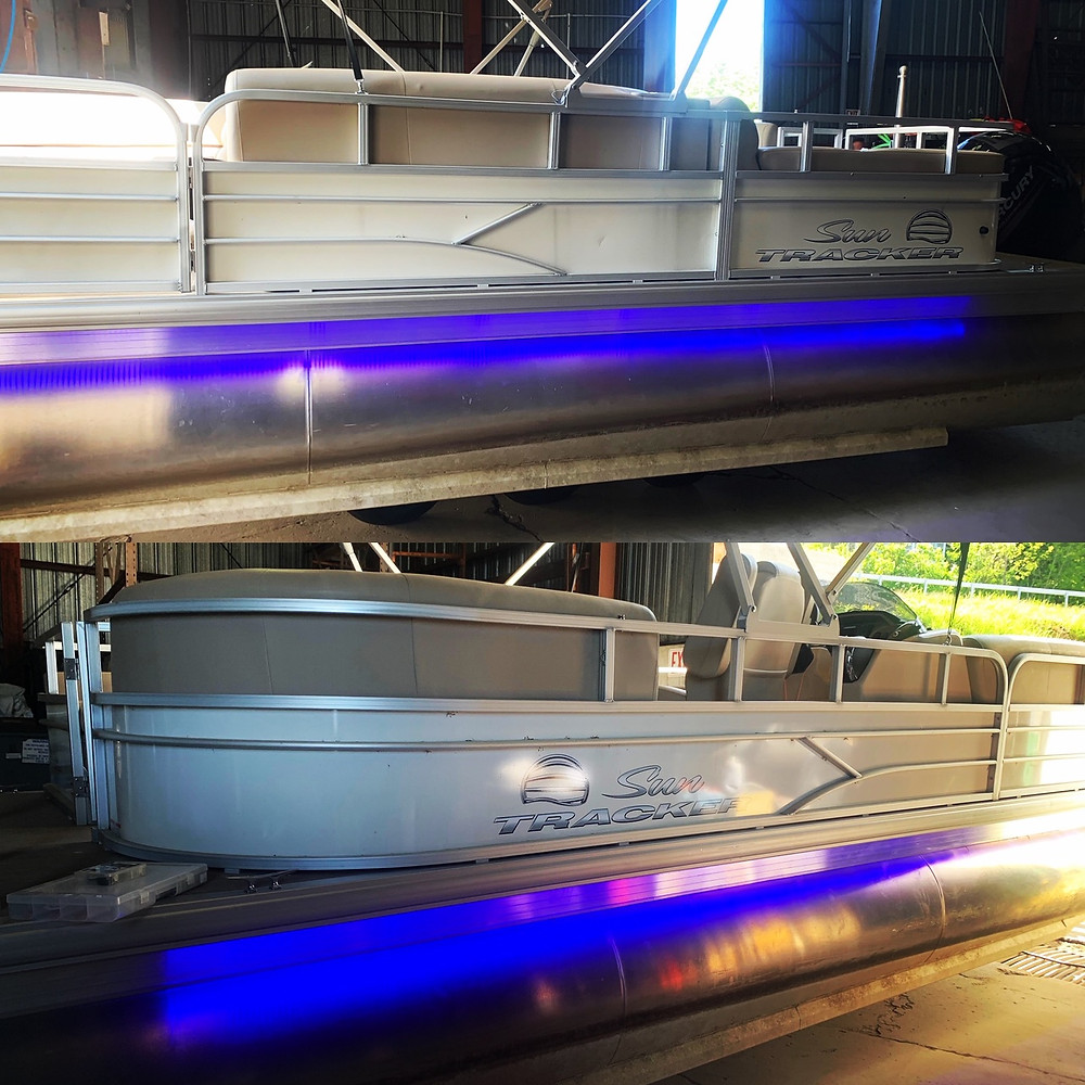 Blue underskirt lighting installed on a customers pontoon boat