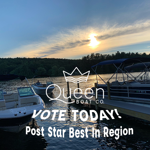 Boat coming into the dock with Queen Boat Logo and 'Vote Today' Message