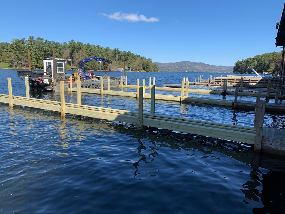 The wood posts have been placed and docks are almost complete.