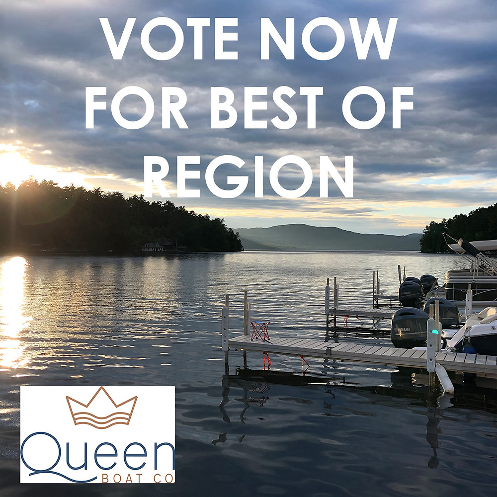 View of the lake from the dock with Queen Boat Co logo and text reading 'vote now for best of region'