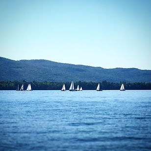 Sailboats racing on Lake George