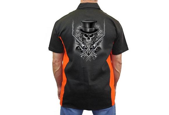 "Biker Mechanic Work Shirt ""Skeleton With Pistols/Guns"" BLACK/ORANGE"