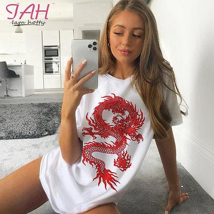 Dragon Print  T Shirt Black Short Sleeves Oversized Tops Summer Vintage Style