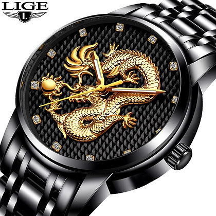 Men's Top Brand LIGE Luxury Gold Dragon Waterproof Quartz Watch, Full Steel