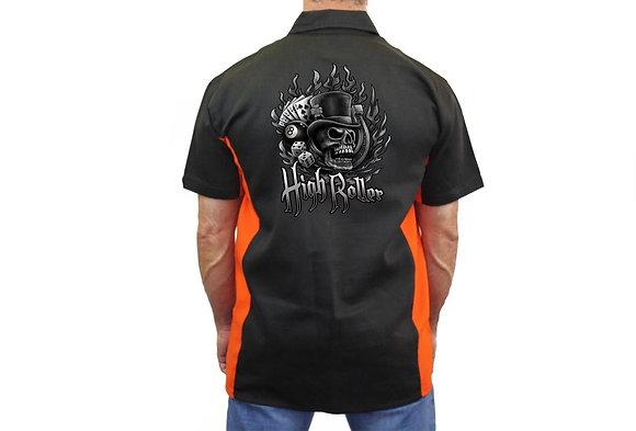 """Biker Mechanic Work Shirt """"High Roller Skull"""" BLACK/ORANGE"""