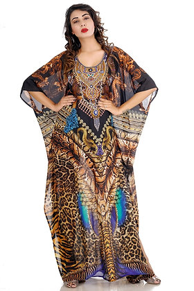 Wildness of Dragon With Other Animals Skin Printed Elegant Silk Kaftans