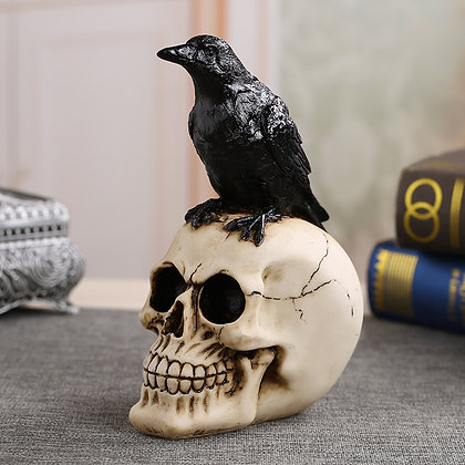 Resin Craft Statues for Decor Skull Crow Skull Fashion Personalized Ornaments