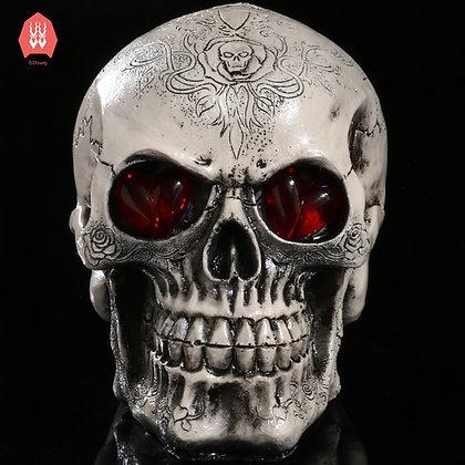 Led Eyes Resin Skull Skeleton Head Statues Demon Skull Figurines Sculpture