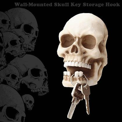 Skull Sculpture Key Storage Hook Wall Mount Resin Skeleton Desk Statue Decor