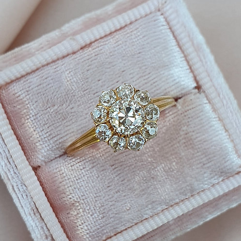 Early XXc Daisy 1.10 Diamond Cluster Ring