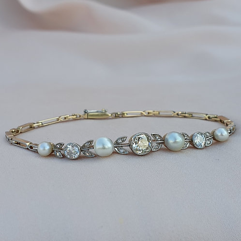 Austro-Hungarian 1900 Diamond Pearl Bracelet