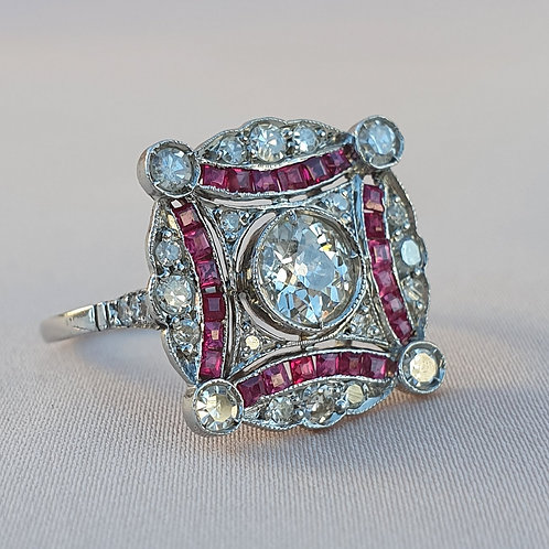 Art Deco Target 0.96 Diamond and 0.24 Ruby Ring