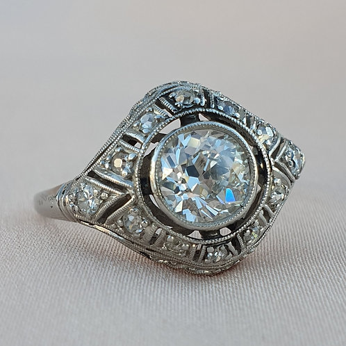 Art Deco Platinum and 0.95 Diamonds Ring