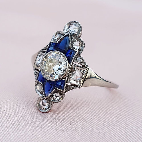 Art Deco Diamond & Sapphire Navette Ring
