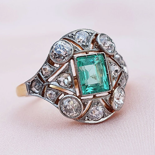 Art Deco Emerald & 1.26 Diamond Ring