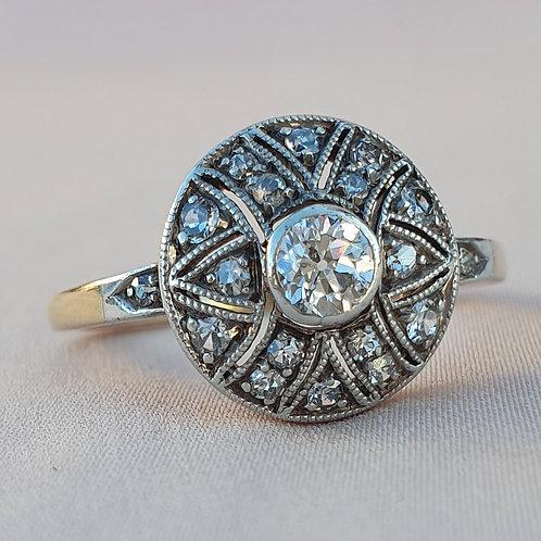 Round Art Deco 0.50 Diamond Engagement Ring