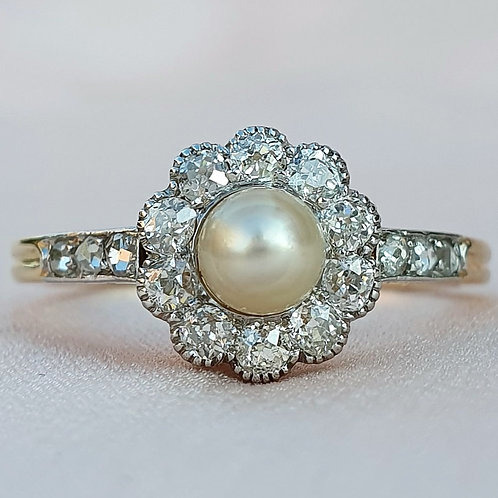 Early Art Deco Pearl and Diamond Halo Ring