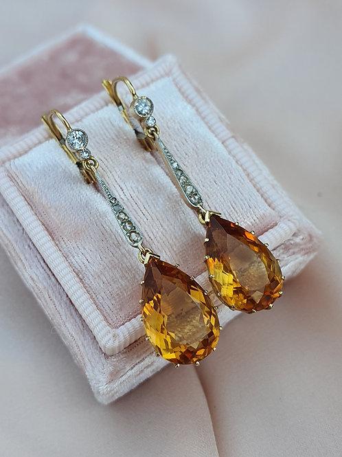 Antique 14ct Citrine and Diamond Earrings