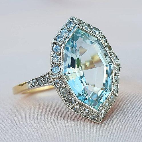 Art Deco Aquamarine & Diamond Navette Ring