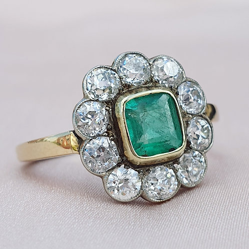 Art Deco Emerald & 1.60 Diamond Halo Ring