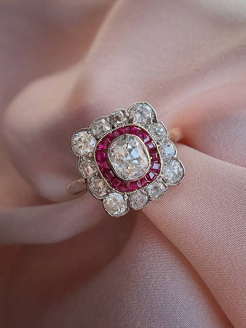Early XXc Diamond and Ruby Halo Ring