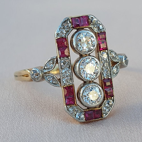 Art Deco Three Stone Diamond & Carre Ruby Ring